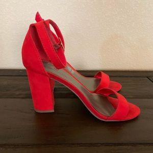 Red block heels